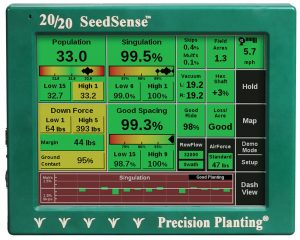 The 20/20 SeedSense monitor displays planter performance on the go.